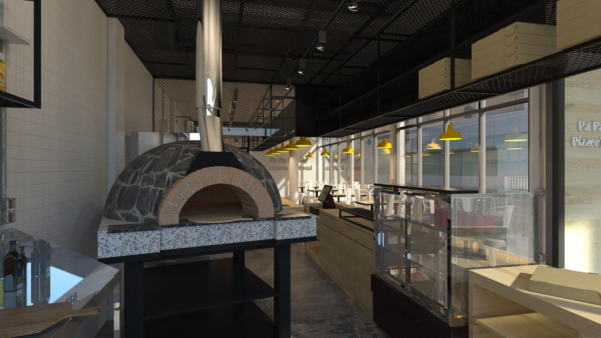 pizza店設計,餐廳設計,工業風,商業空間,義大利麵,義式比薩店